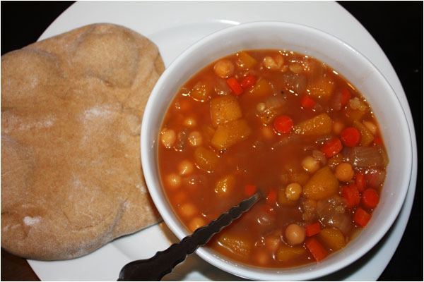 Winter Squash Stew with Homemade Pita