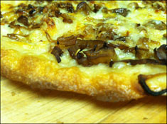 Mushroom-Shallot Pizza with Five Cheeses