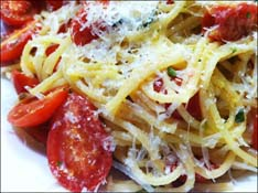 Grape Tomato and Garlic Pasta
